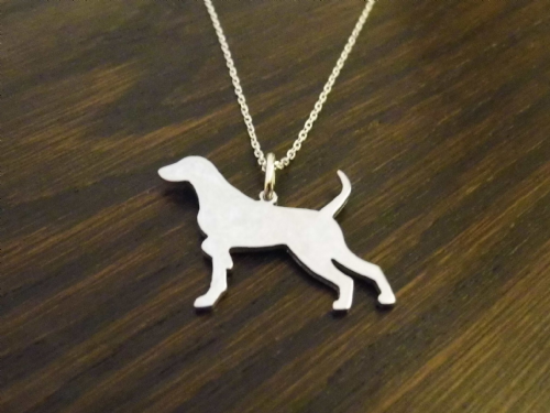 pointer dog natural pendant sterling silver handmade by saw piercing Caroline Howlett Design